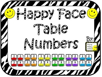 Happy/Smiley Face Table Numbers ~ Zebra