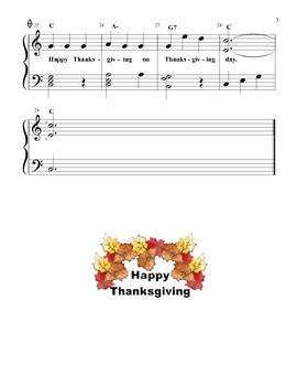 HappyThanksgiving - easy piano version w/ lyrics & chord symbols