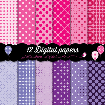 Happy Colors - 12 Digital Papers in Pink and Purple