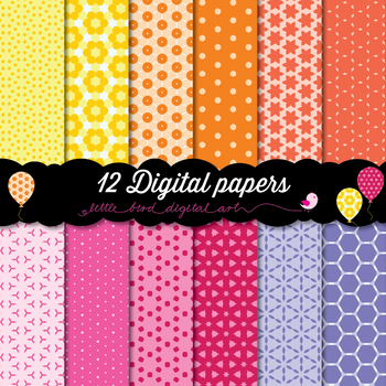 Happy Colors - 12 Digital Papers in Yellow, Orange, Red, Pink and Purple