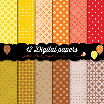 Happy Colors - 12 Digital Papers in Yellow, Orange, Red and Brown