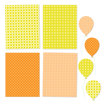 Happy Colors - 12 Digital Papers in Yellow, Orange, Red and Green