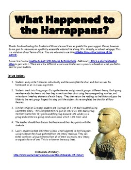 Harappan Civilization Theories Project for the Indus River Valley