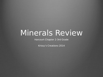 Harcourt 3rd Grade Minerals Test Review PPT