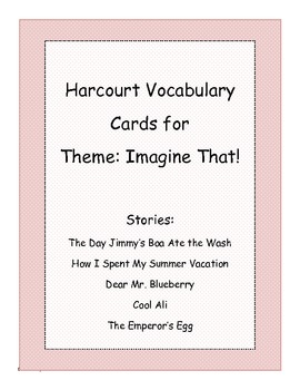 Harcourt Banner Days Theme 1: Imagine That! Vocabulary Cards