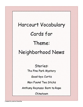 Harcourt Banner Days Theme 2:Neighborhood News Vocabulary Cards