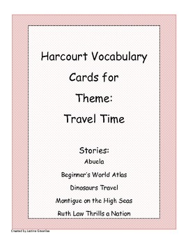 Harcourt Banner Days Theme 3: Travel Time Vocabulary Cards