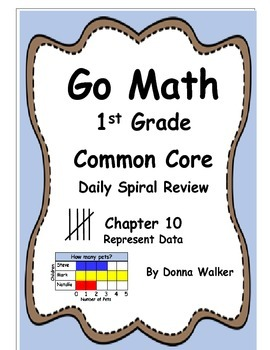 Harcourt Go Math Common Core Daily Spiral Review for 1st Grade - Chapter 10