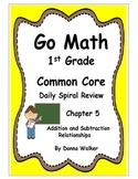 Harcourt Go Math Common Core Daily Spiral Review for 1st Grade - Chapter 5