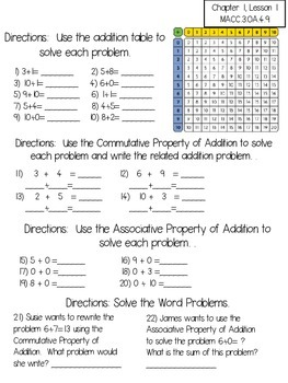 Harcourt Go Math Review Worksheets for 3rd Grade-Chapter 1