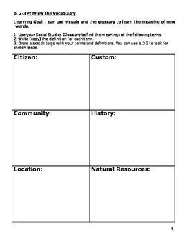 Harcourt Horizons Chapter 1 Study Guide