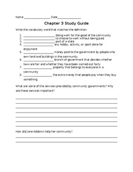 Harcourt Horizons Chapter 3 Grade 3 Study Guide