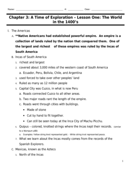 Harcourt Horizons US Beginnings-5th Grade Chapter 3 outline 48 Pages!