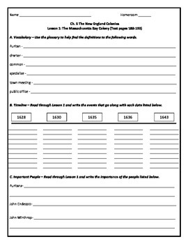 Harcourt Horizons U.S. History Grade 5 Ch. 5 Notes Packet