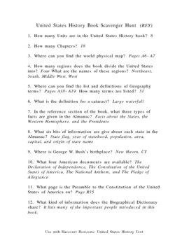 Harcourt Horizons: United States History text - Scavenger Hunt