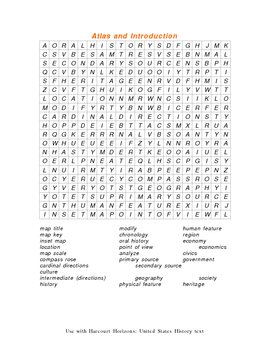 Harcourt Horizons: United States History text Word Searches