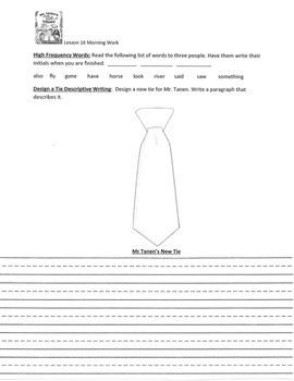 Harcourt Houghton Mifflin Lesson 16 Mr. Tanen's Tie Trouble Morning Work