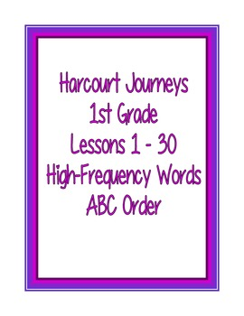 Harcourt Journeys : 1st Grade : High-Frequency Words ABC Order