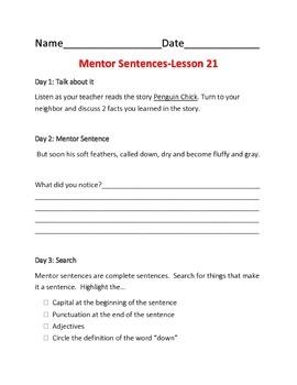 Harcourt Journeys 2nd Grade Mentor Sentences