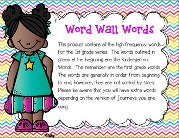 Harcourt Journeys First Grade Word Wall Words
