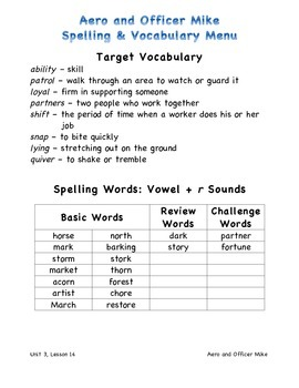 Harcourt Journeys 2011 Grade 3 Unit 3 Spelling & Vocabulary Lists