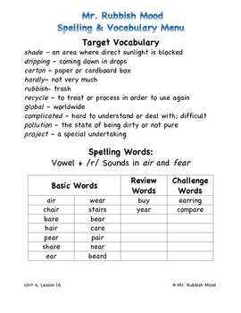 Harcourt Journeys 2011 Grade 3 Unit 4 Spelling & Vocabulary Lists