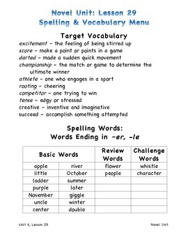 Harcourt Journeys 2011 Grade 3 Unit 6 Spelling and Vocabulary Lists