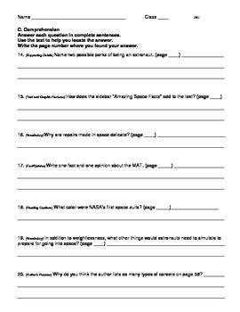 Harcourt Journeys Grade 5 (2012) Unit 1 Story 2 Comprehension Questions