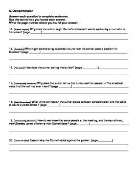 Harcourt Journeys Grade 5 (2012) Unit 4 Story 4 Comprehension Questions