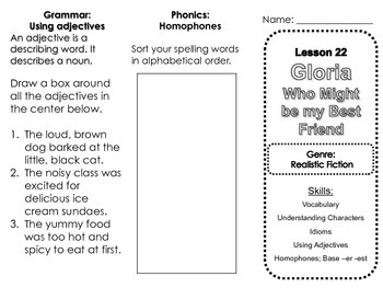 Harcourt Journeys Lesson 22 Gloria Who Might Be My Best Friend Skills Trifold