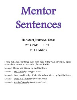 Harcourt Journeys Mentor Sentences 2nd grade Unit 1