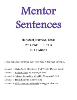 Harcourt Journeys Mentor Sentences 2nd grade Unit 3