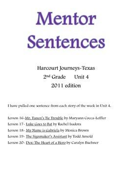 Harcourt Journeys Mentor Sentences 2nd grade Unit 4