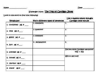 Harcourt Journeys Scavenger Hunts 3rd Grade Unit 1 & 2 (stories 1-10)