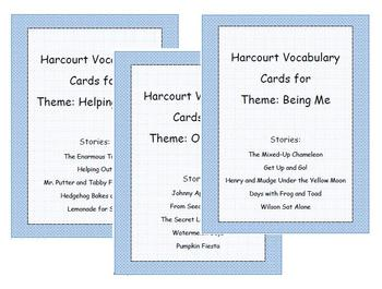 Harcourt Just For You Vocabulary Cards for all 15 stories