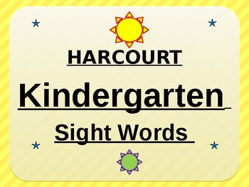 Harcourt Kindergarten Sight Words