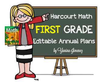 Harcourt Math First Grade Editable Annual Plans aligned wi