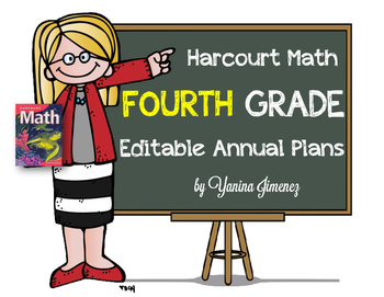Harcourt Math Fourth Editable Annual Plans aligned with th