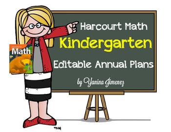 Harcourt Math Kindergarten EDITABLE Annual Plans - Aligned with CCSS!