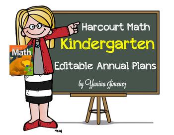 Harcourt Math Kindergarten EDITABLE Annual Plans - Aligned