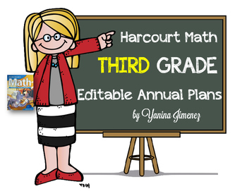 Harcourt Math Third Grade Editable Annual Plans aligned with the Common Core