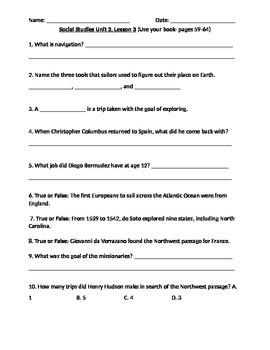 Harcourt NC 5th Grade Social Studies Unit 2 Bundle