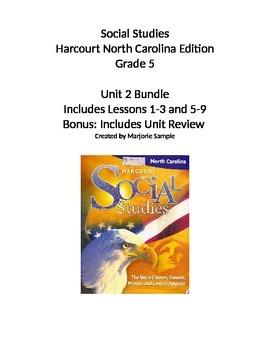 Harcourt NC 5th Grade Social Studies Unit 2 Bundle