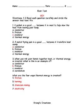 Harcourt Science Third Grade Ch. 4 Heat Test