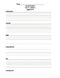 Harcourt Social Studies - Gr. 2 - Unit 1 Notes Packet and Review Worksheet