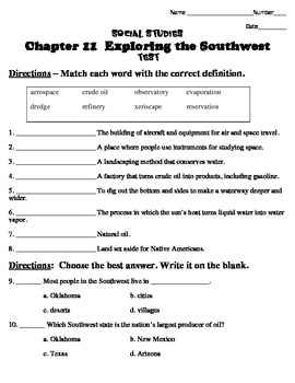 Harcourt Social Studies States & Regions Chapter 11 Study Guide & Test (Grade 4)