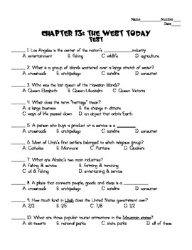 Harcourt Social Studies States & Regions Chapter 13 Study Guide & Test (Grade 4)