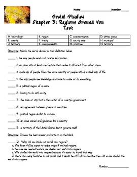 Harcourt Social Studies States & Regions Chapter 03 Study Guide & Test (Grade 4)