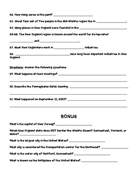 Harcourt Social Studies States & Regions Chapter 05 Study Guide & Test (Grade 4)