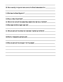 Harcourt Social Studies States & Regions Chapter 09 Study Guide & Test (Grade 4)